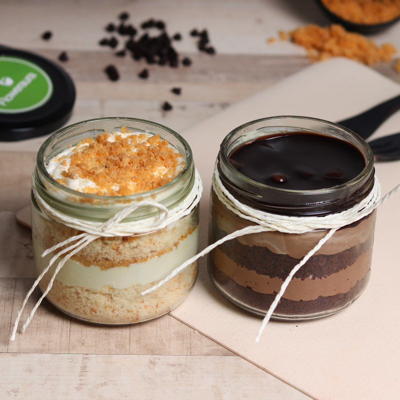 Butterscotch and Chocolate Mousse Jar Cake