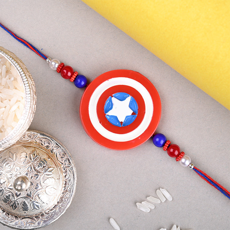 Zoom View of Captain America Rakhi - One Cartoon Rakhi For Kid Brother