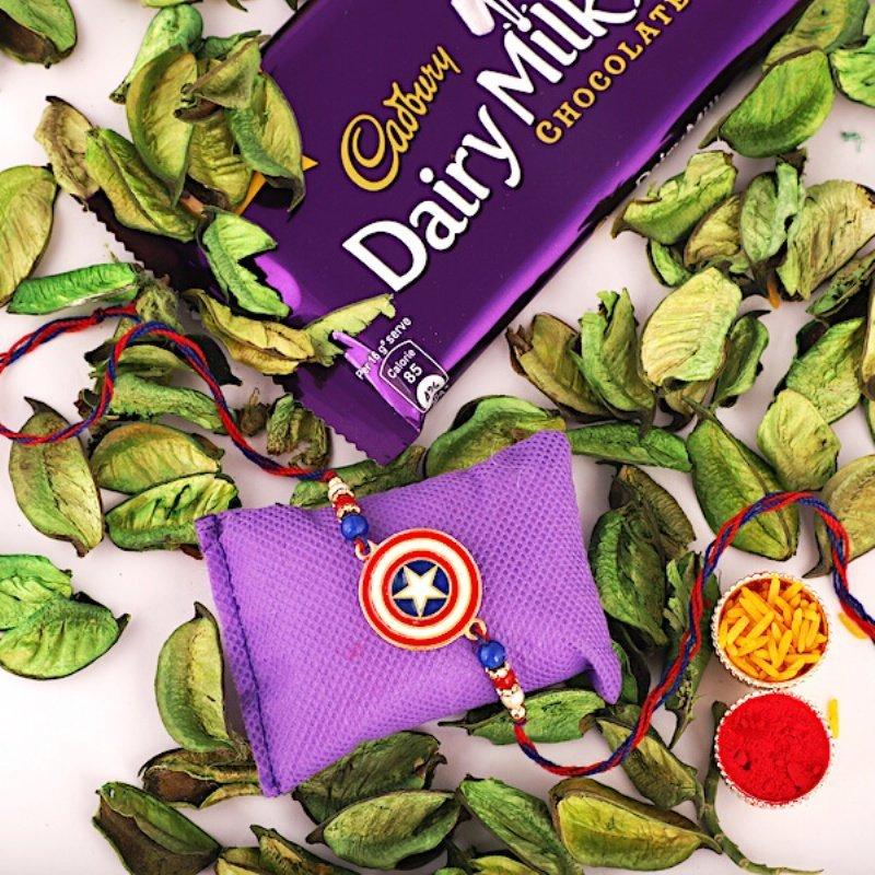 Captain America Shield Rakhi And Cadbury Combo.