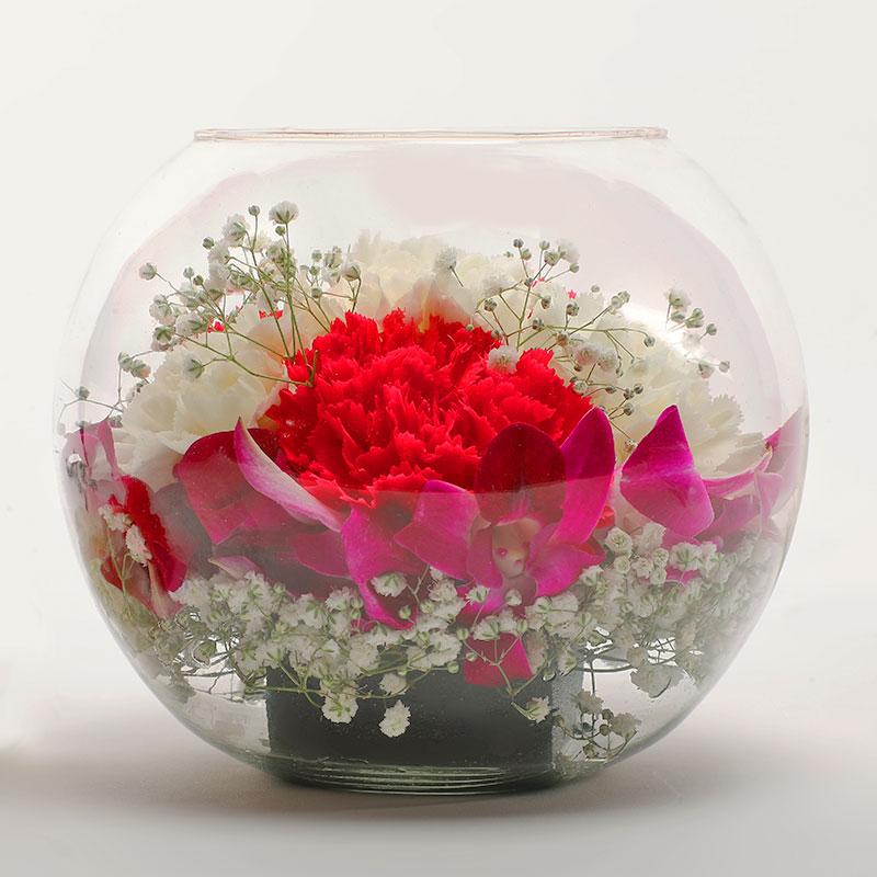 Carnation White Flower Bowl