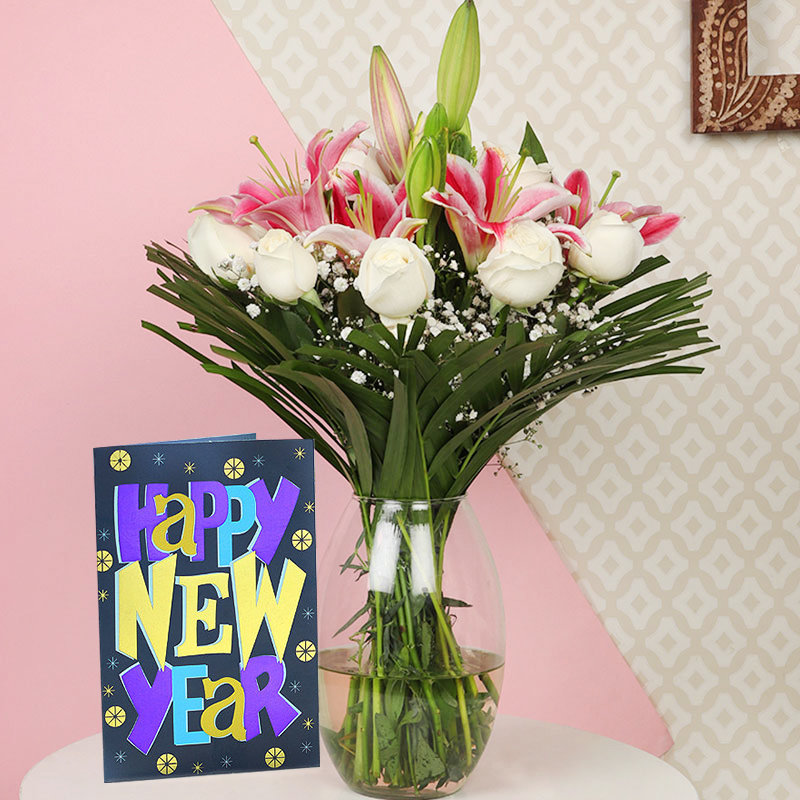 Carnations N Lilies with New Year Card