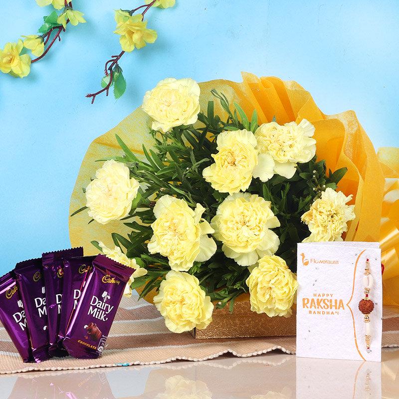 Carnations N Rakhi Chocolate