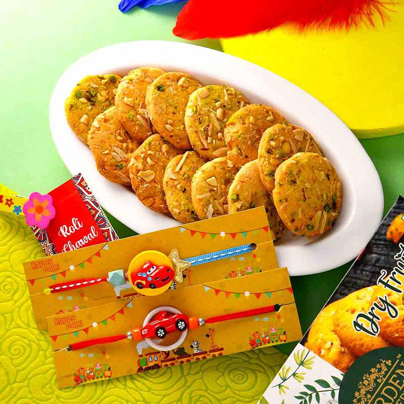 Cartoon Cars Rakhi & Cookie Combo