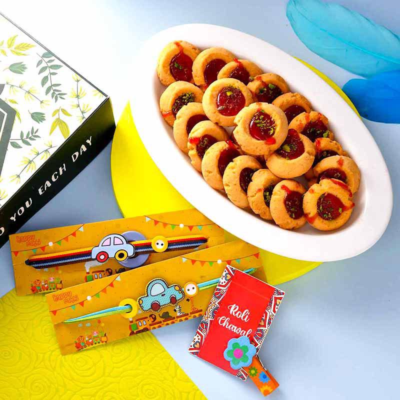 Cartoon Cars Rakhi & Jam Cookie Combo