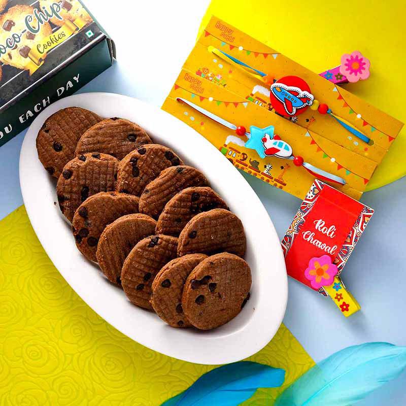 Cartoon Plane Rakhi & Cookie Combo