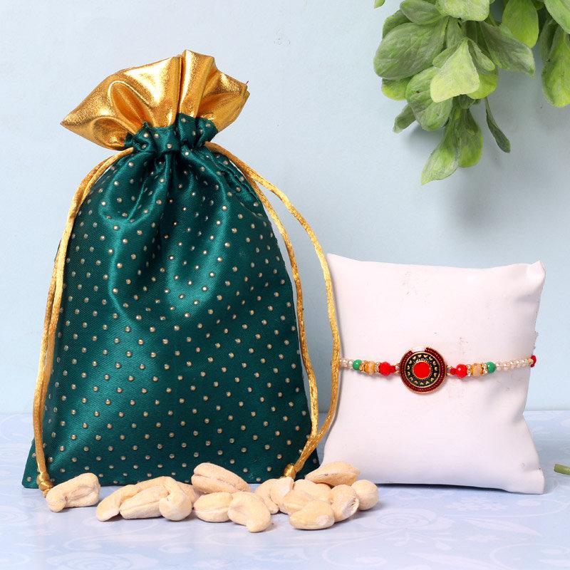 Cashew Metallic Rakhi Combo