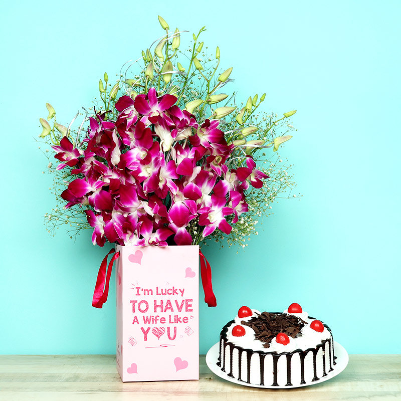 Celebrated Togetherness - 6 Purple Orchids in Floral Box for Wife 0.5 Kg Blackforest Cake