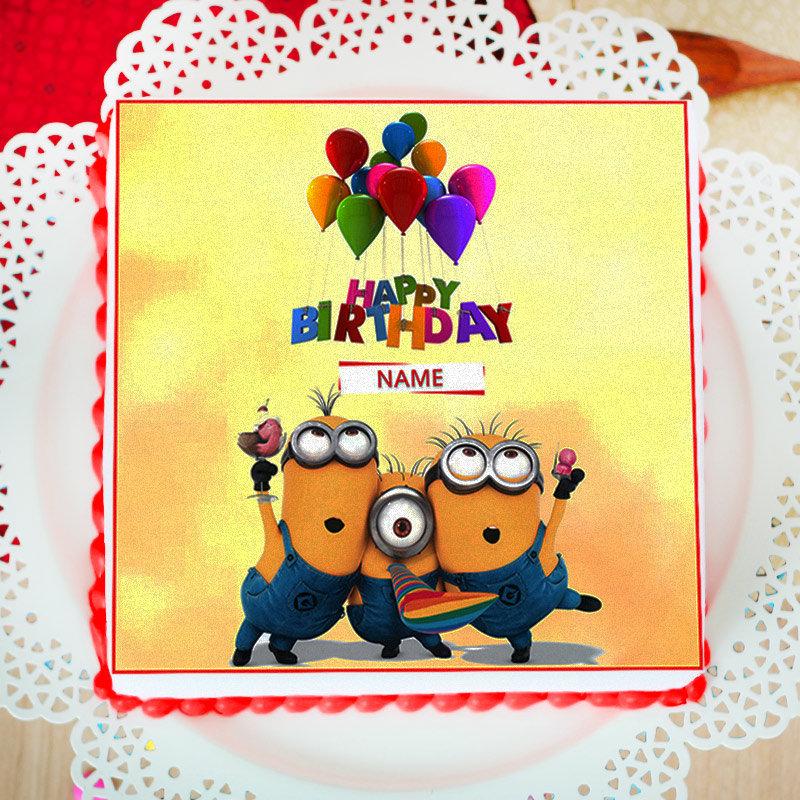 Minion Birthday Photo Cake For Children