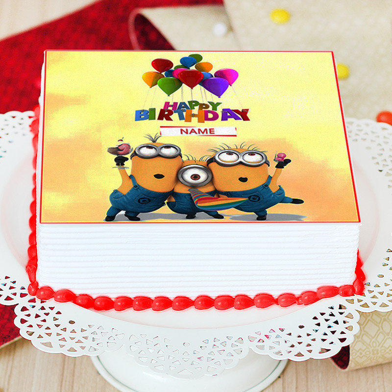Minion Birthday Photo Cake For Children - Zoom View