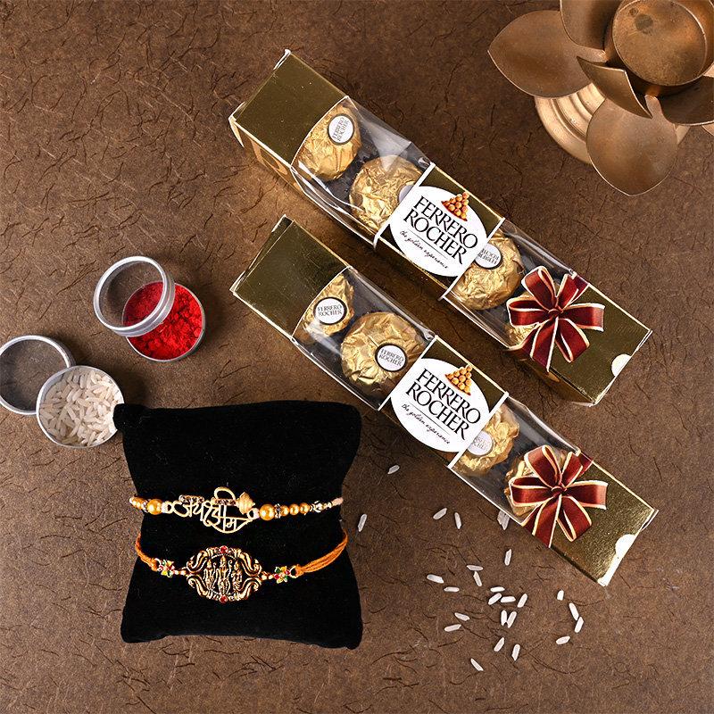 Celebratory galore Rakhi pack - 2 Set of 2 rakhi