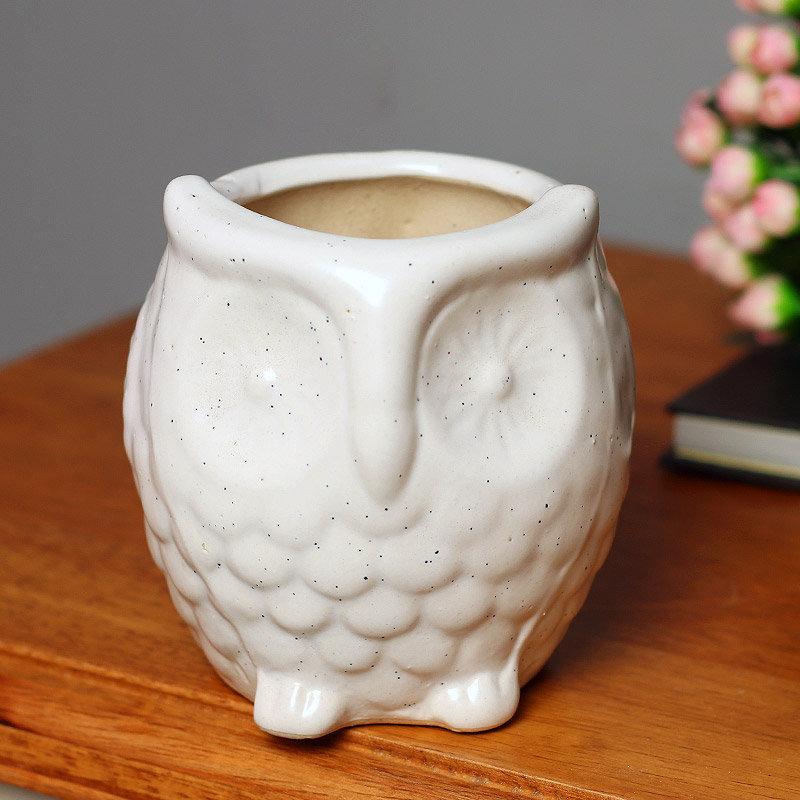 Ceramic White Owl Vase
