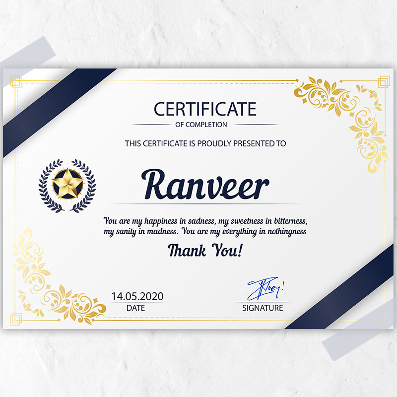 Personalised Certificate for Him