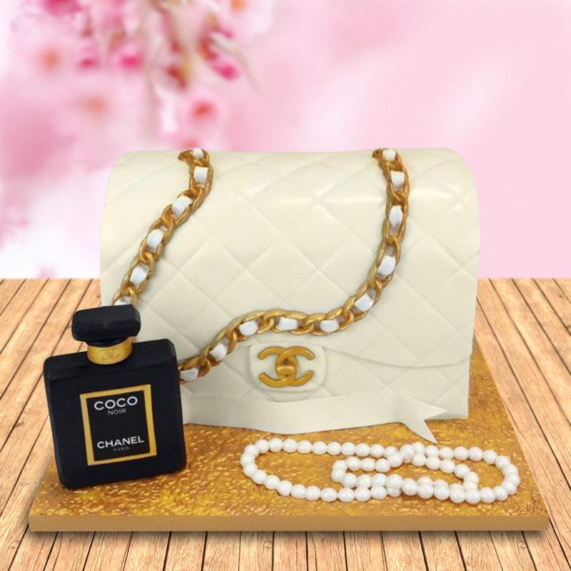 Chanel bag and perfume cake
