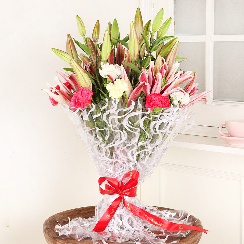 Charismatic Carnation N Lily Bunch - Bouquet of 6 Pink Lilies and 10 Mixed Carnations