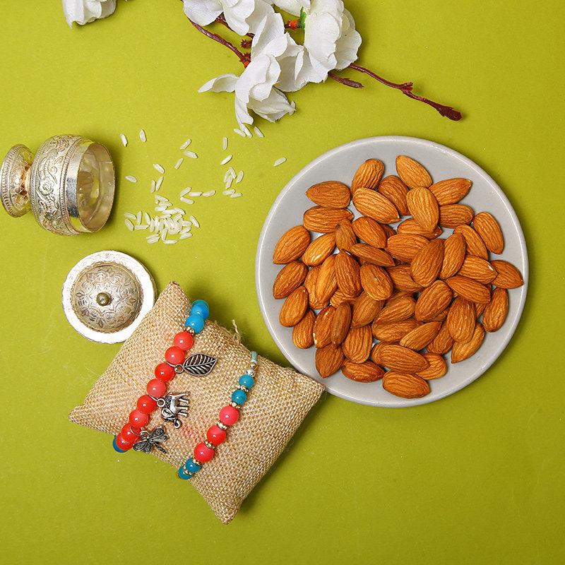 Charming Bhaiya Bhabhi Rakhi With Almonds