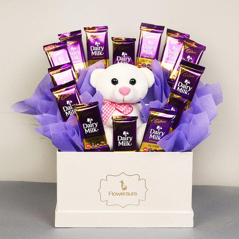 Choco Blush Box Combo - 14 Dairy Milk Chocolates and White Teddy in White Floweraura Box