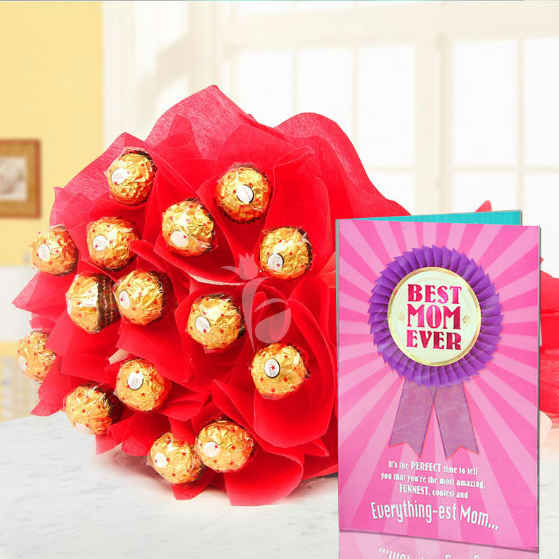 Greeting Card with Chocolate Bouquet for Mom