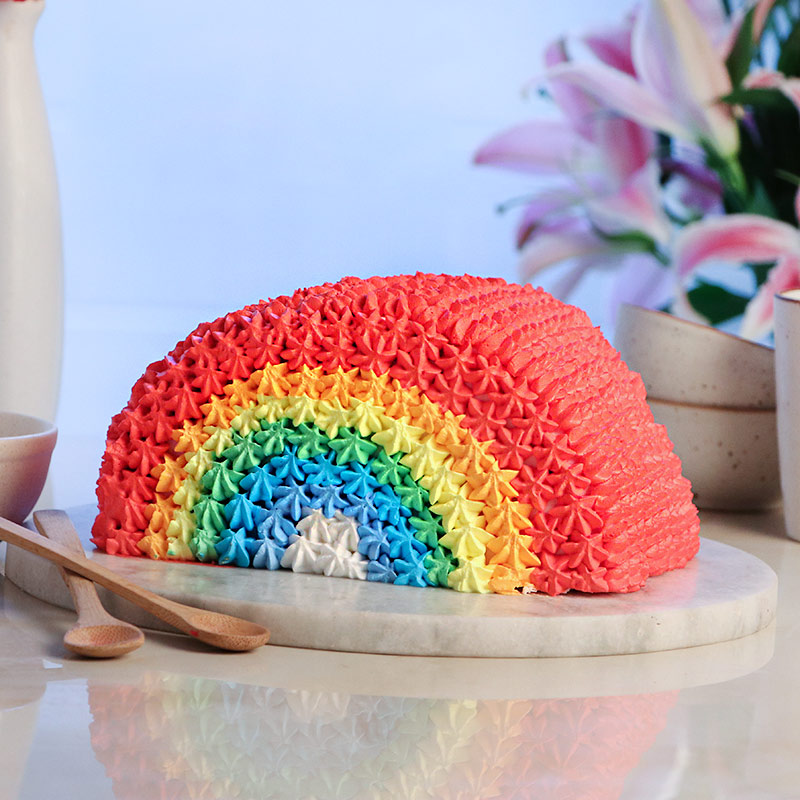Chocolate Cake Layered in Rainbow Colors