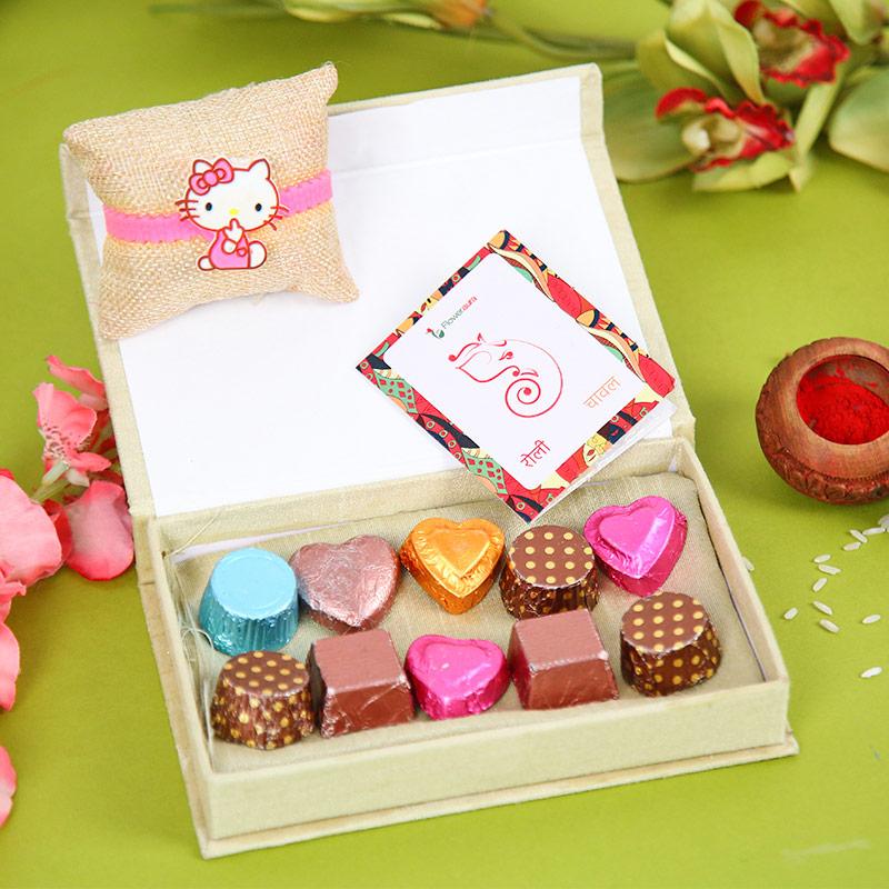 Choco Kitty Rakhi Hamper - Cartoon Rakhi, Handmade Chocolate With Box