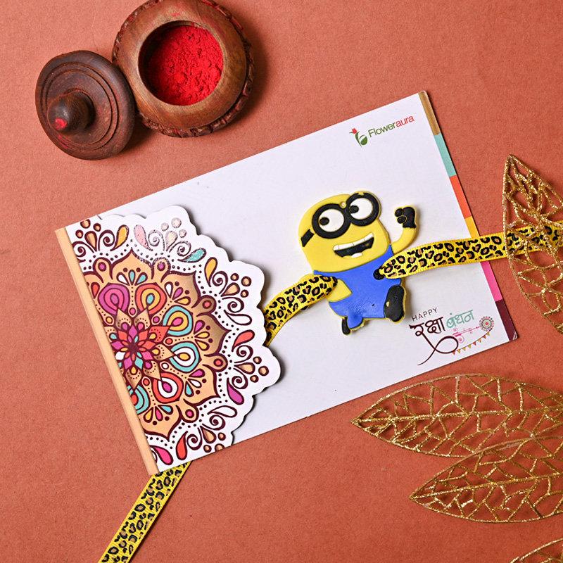 Order Cartoon Rakhi with cards full view