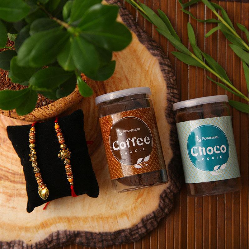 Bhaiya bhabhi Rakhi - Choco N Coffee Cookie Rakhi Combo