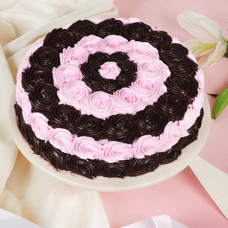 Choco Pink Swirl Cake for Anniversary