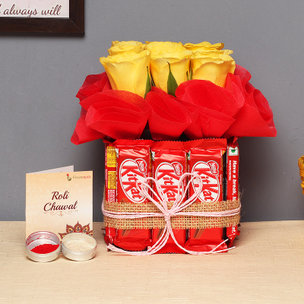 Choco Rose Delight - Arrangement of 9 Yellow Roses with 12 Kitkats and Roli Chawal