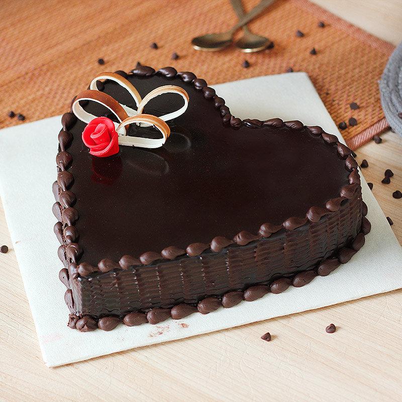 Dark Chocolate Heart Cake - Top View
