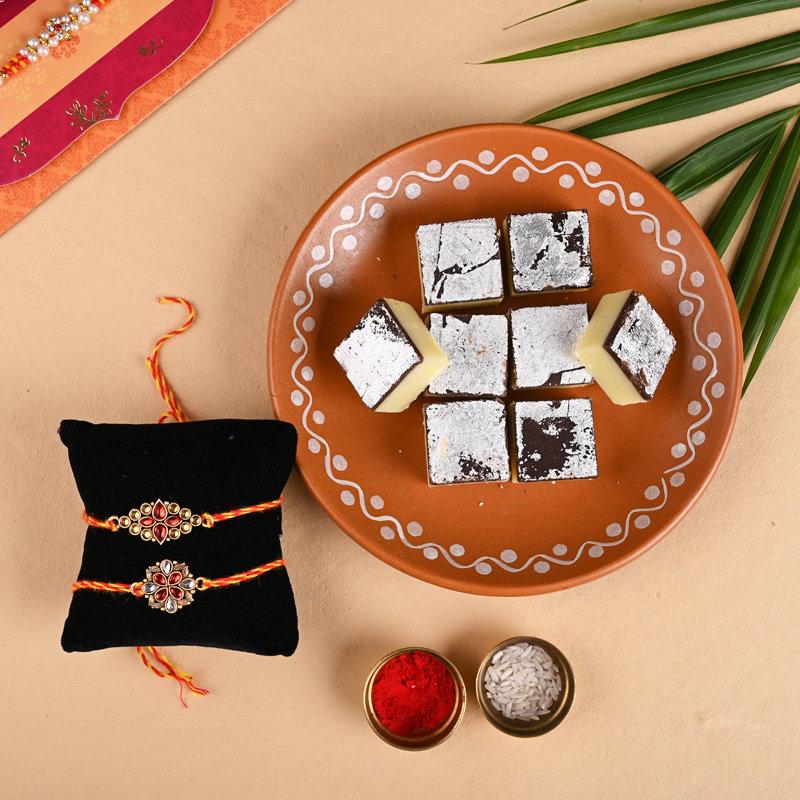 Set of 2 Kundan Rakhis - Chocolate Burfis N Kundan Rakhis