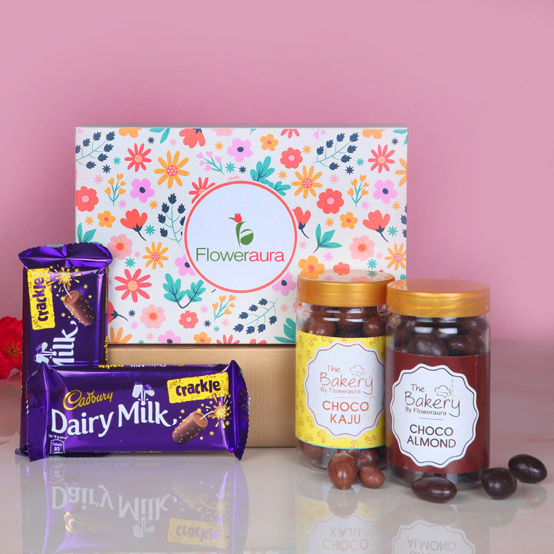 Front View of Chocolate Dryfruits Diwali Signature Box