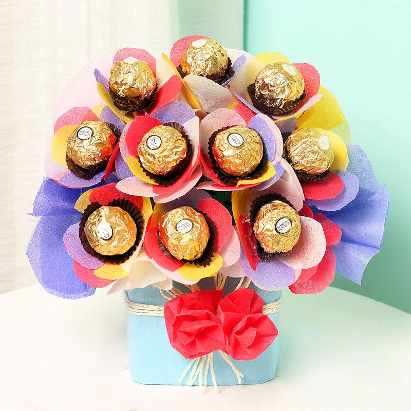 Bouquet of Ferrero Rocher Chocolates in Glass Vase