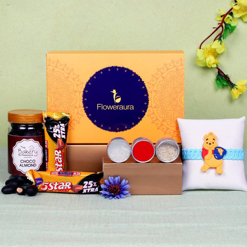 Chocolate Rakhi Signature Box - One Designer Rakhi with Roli and Chawal and Choco Almonds and 2 Cadbury 5 Stars - 19.5gm each and One Floweraura Signature Box