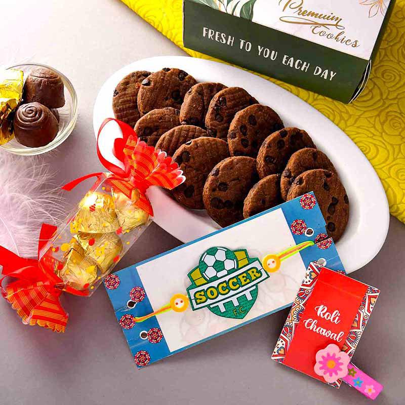 Chocolates And Cookies With Rakhi