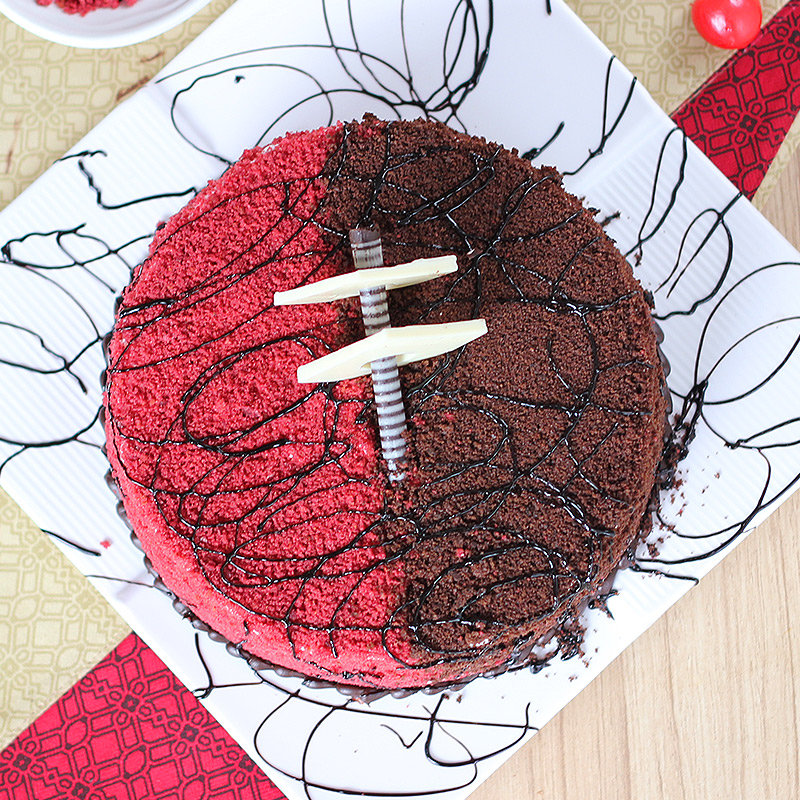 Exquisite Red Velvet Cake - Top View