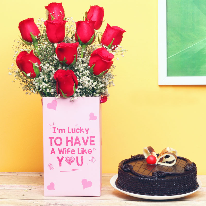 Roses and Cake Combo for Wife