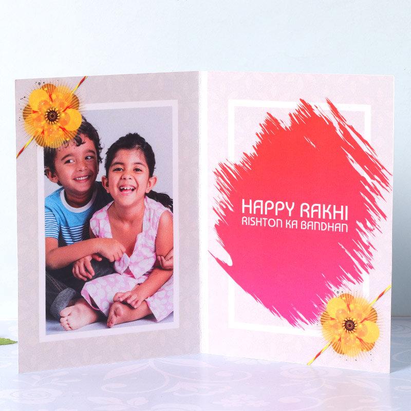 Rakhi Card in Chocolaty Greet Rakhi Combo