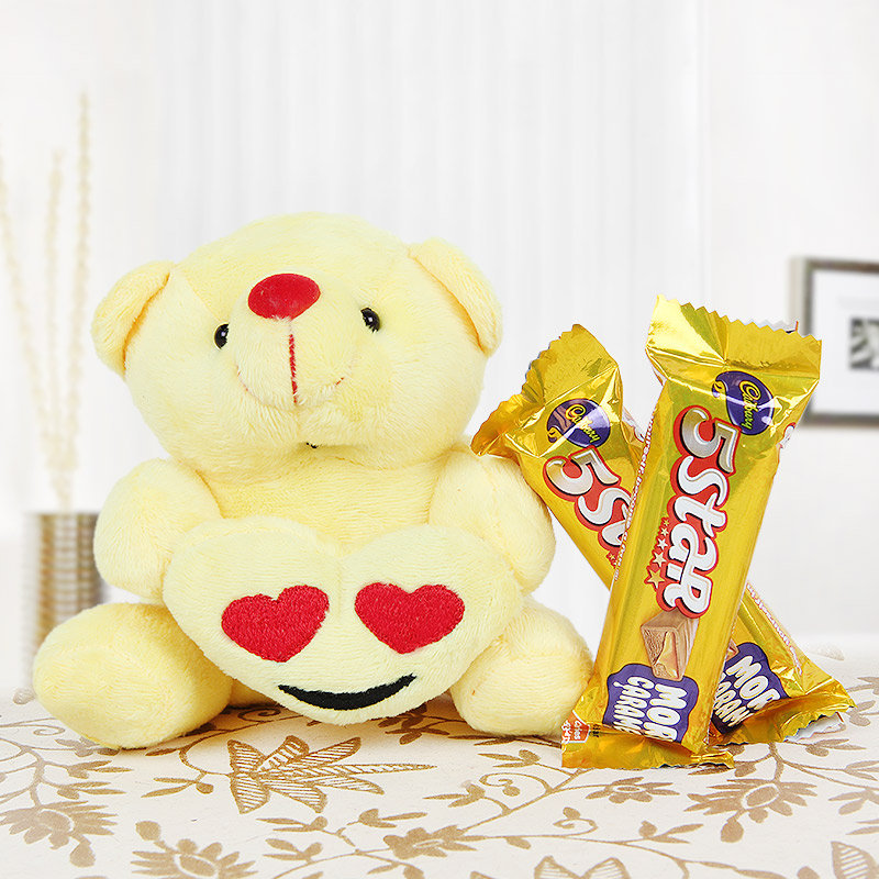 Cute teddy and two 5 star chocolates combo