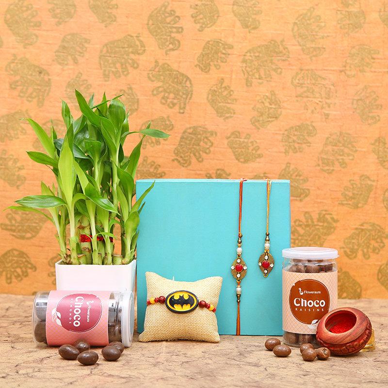 Chocolaty Rakhi Trio N Plant