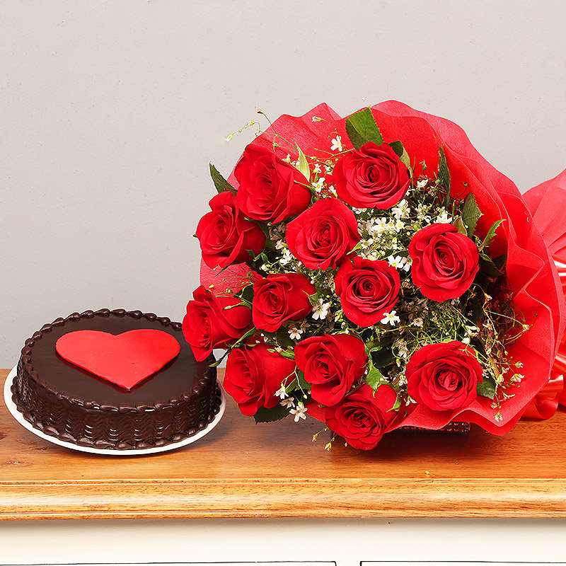 Bunch of Red Roses and Chocolate Cake