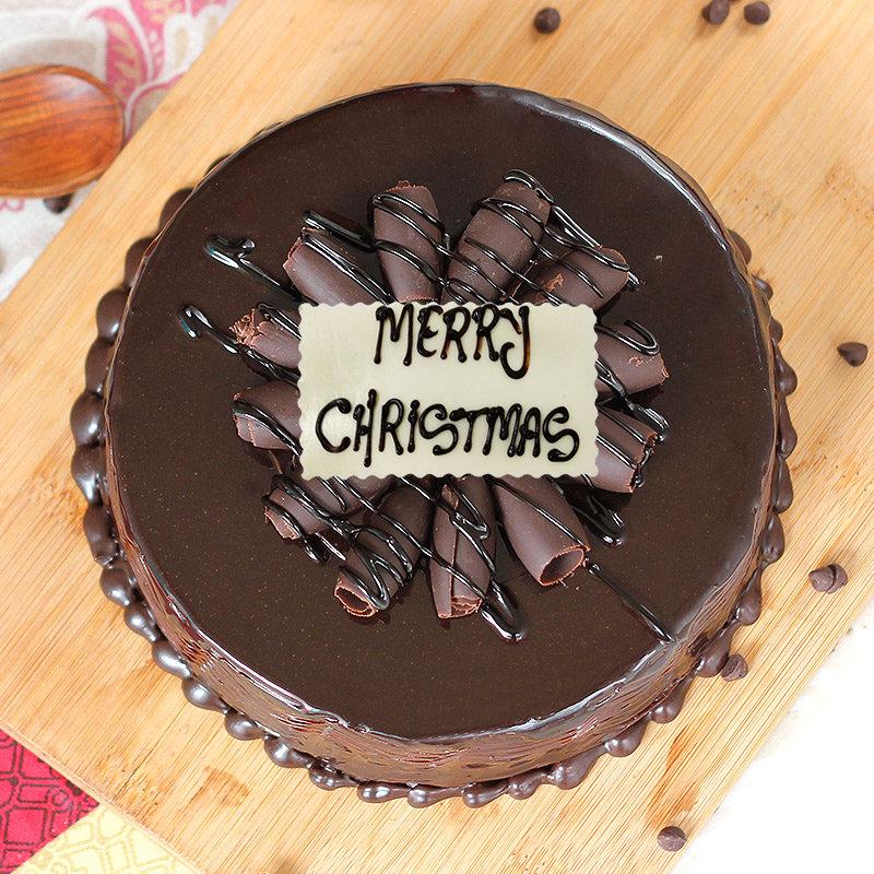 Choco Truffle Christmas Cake - Top View