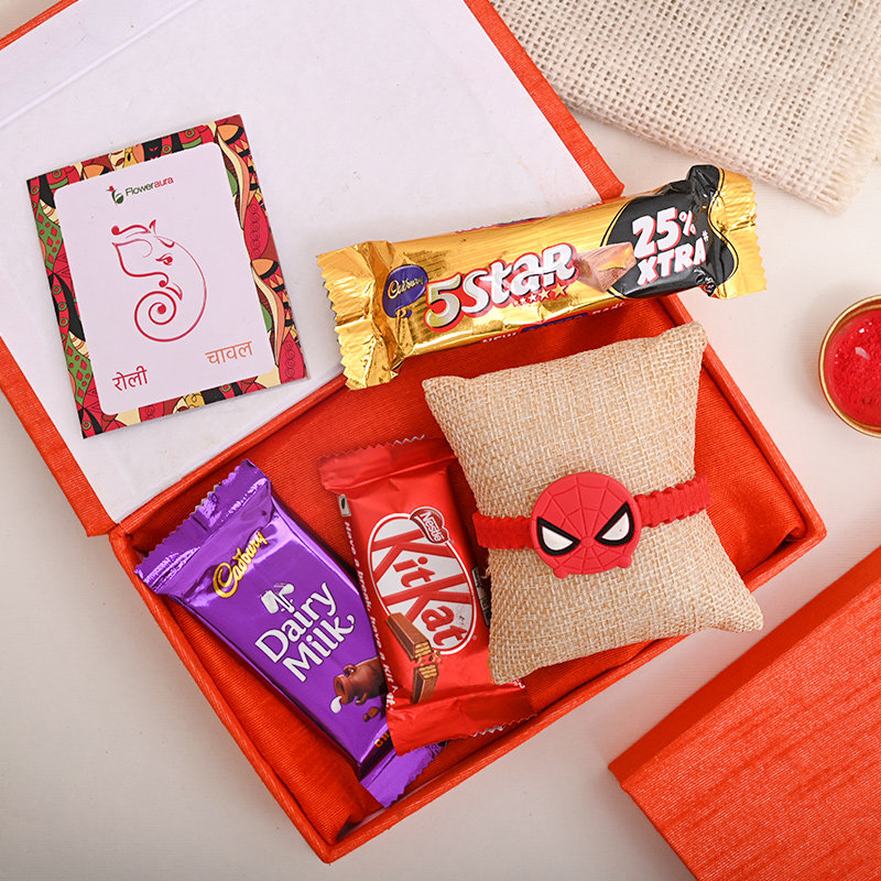 Chocolicious Rakhi Box - Spiderman Rakhi With Floweraura Box