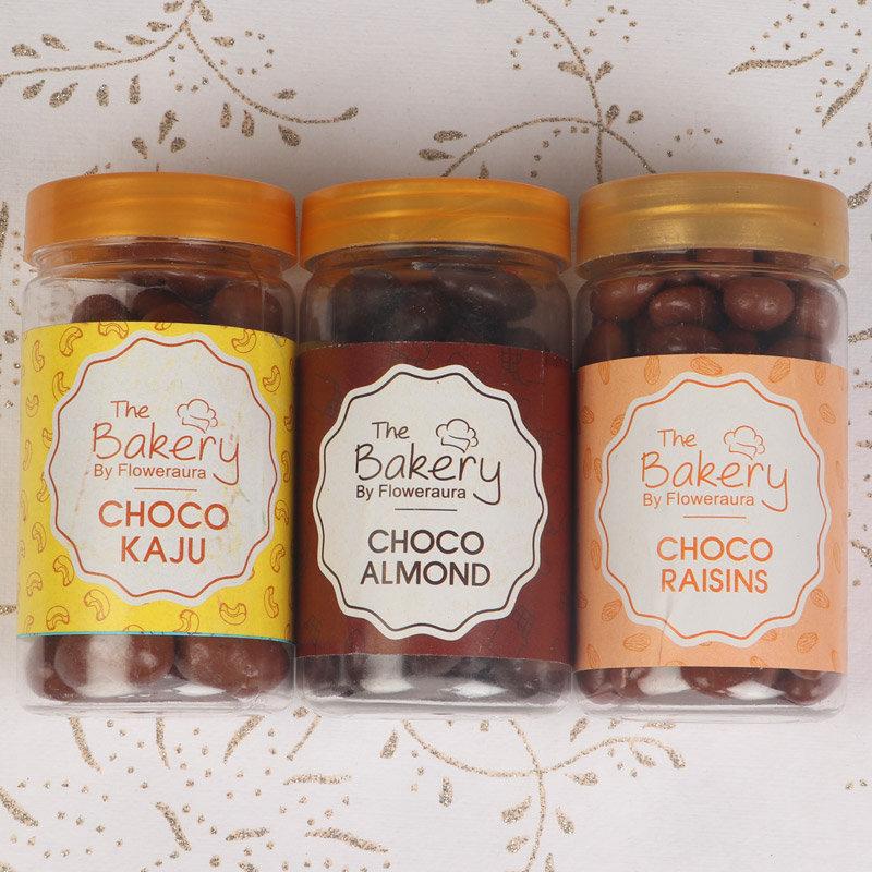 Choco Kaju and Choco Almonds with Choco Raisins