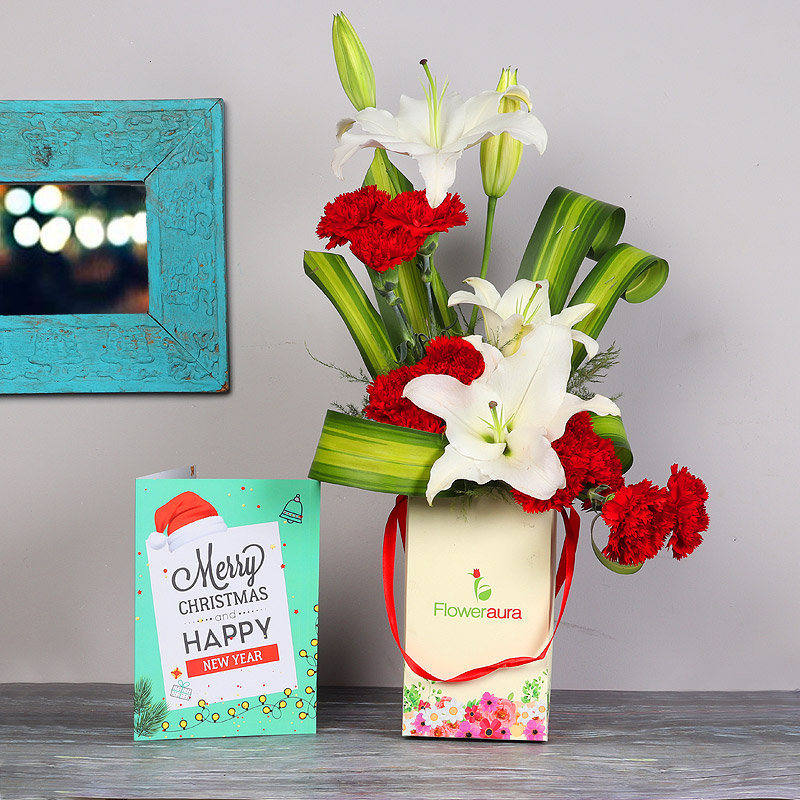 Flower Bunch with Christmas Greeting Card