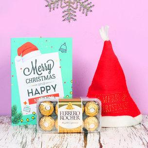 Santa Cap with Christmas Card & Chocolates