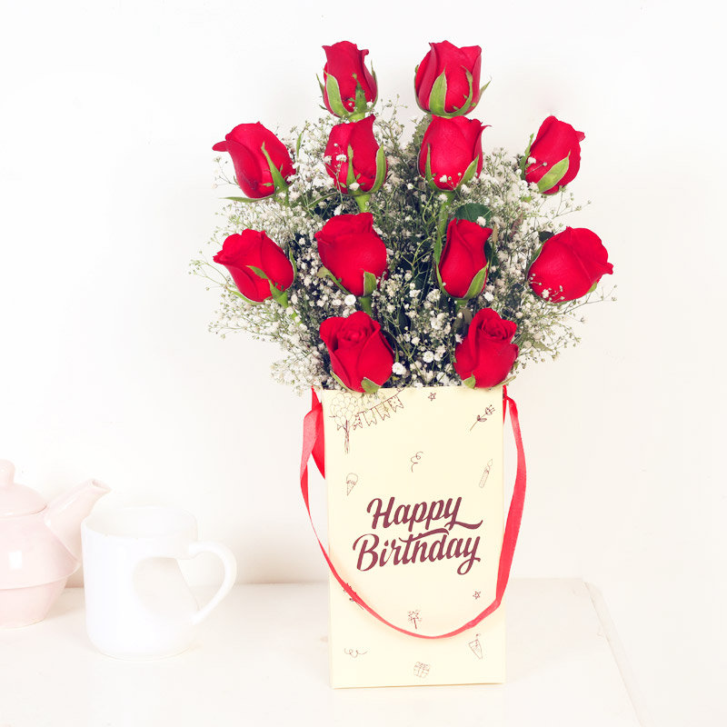 Classic Red Beauty - 12 Roses Bunch for Birthday