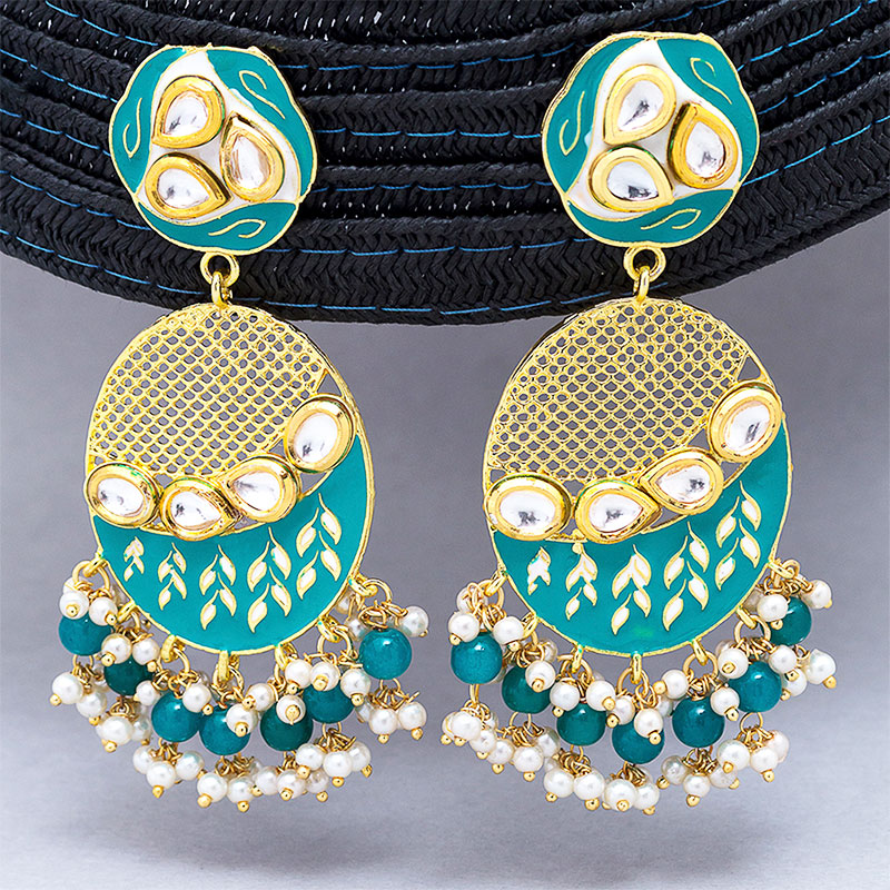Classy Gold And Green Drop Earrings