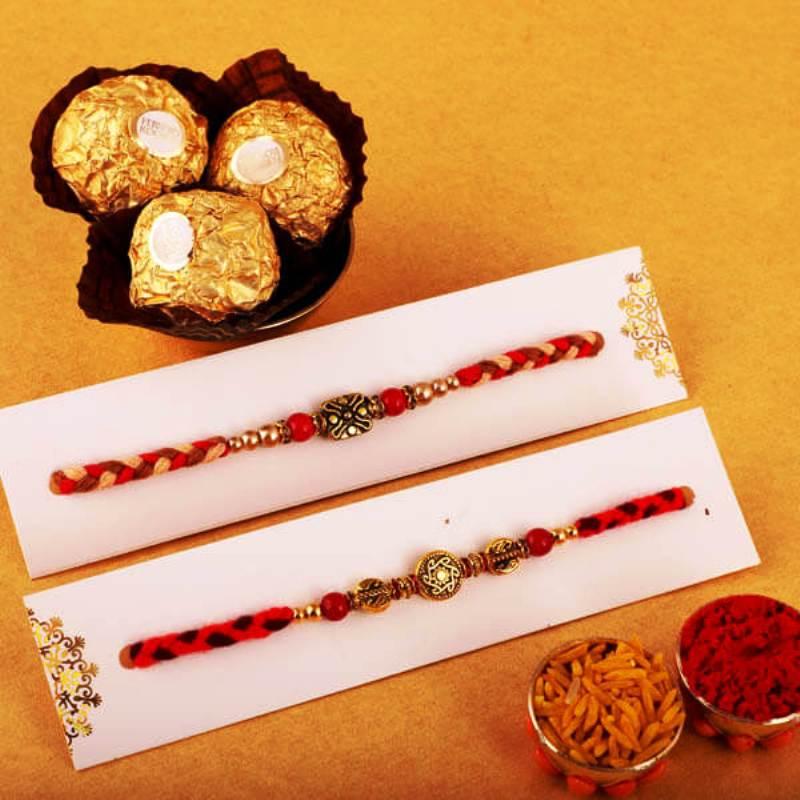 Coloured Beaded Rakhi Set