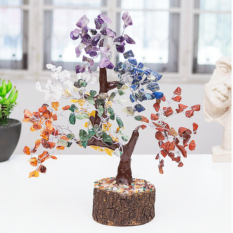 Colourful Agate Wishing Tree - Multi colour Agate Wooden wishing Tree