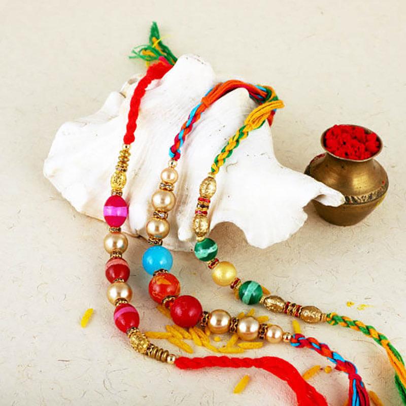 Colourful Beaded Rakhi Triplet