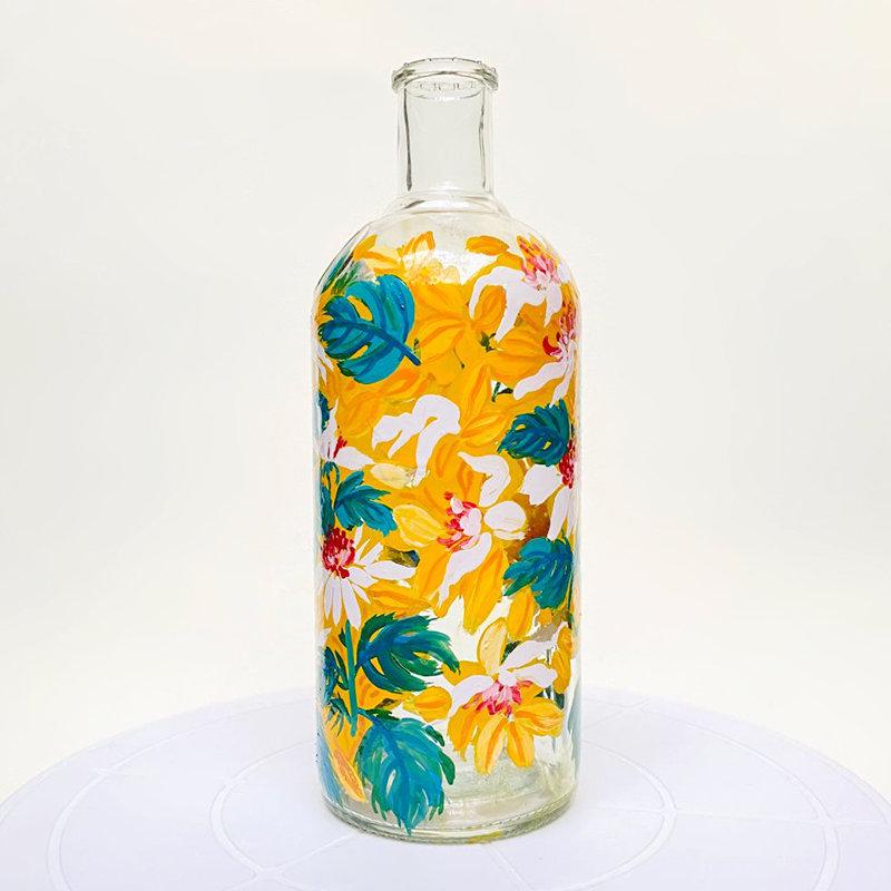 Colourful Handpainted Sparrows Bottle